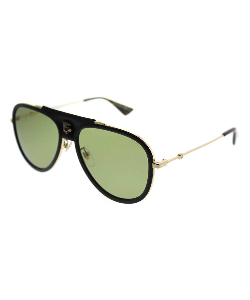 38f9ef8ccbf Gucci Gg0062s 014 Black Gold Aviator Sunglasses in Black - Lyst