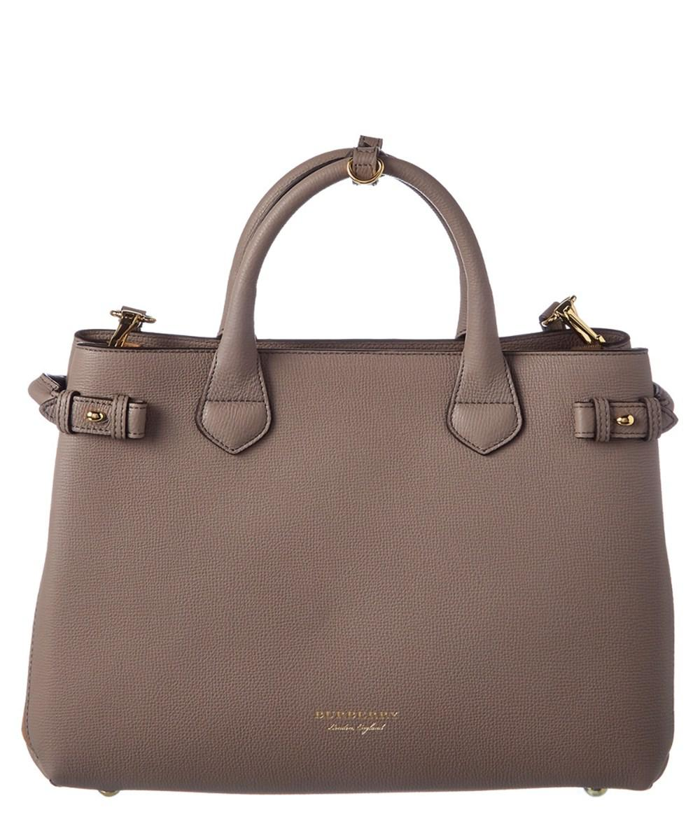 Lyst - Burberry Medium Leather House Check Tote in Brown 6bf5d7fe17