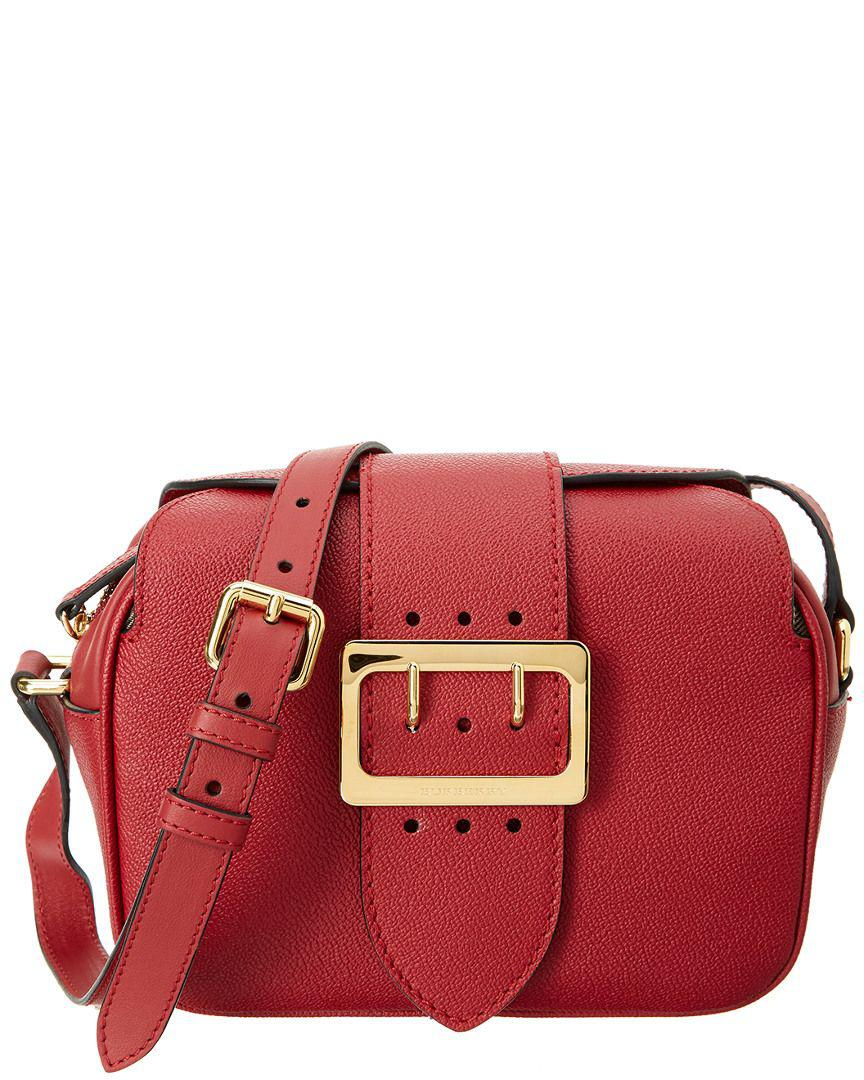 0ad36db83428 Lyst - Burberry Small Buckle Leather Crossbody in Red