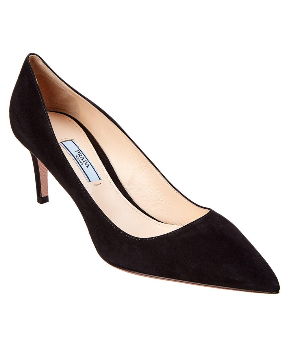 122fbef96709 Lyst - Prada 65 Suede Pointy-toe Pump in Black