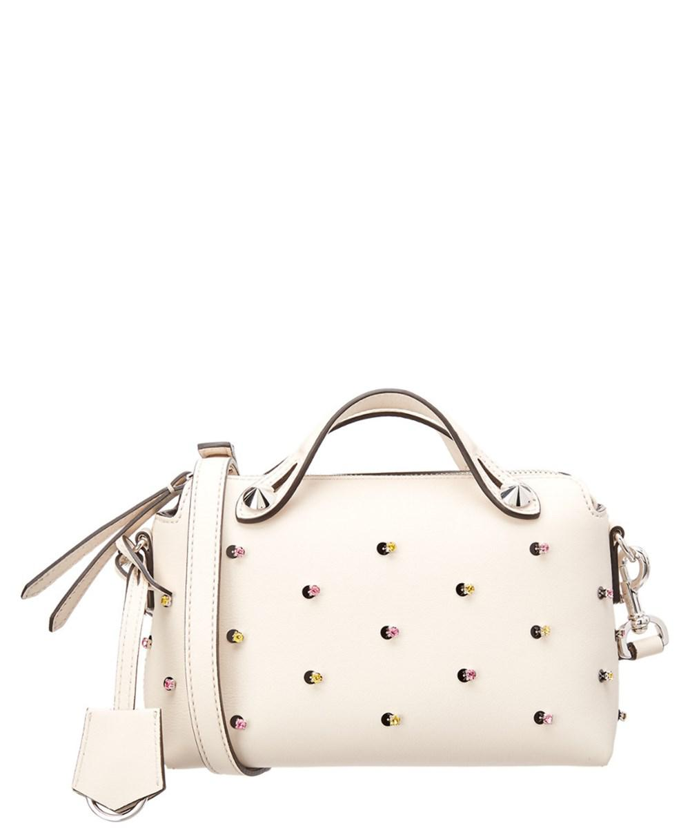 5a78becf24ad Lyst - Fendi By The Way Mini Embellished Leather Crossbody in Natural