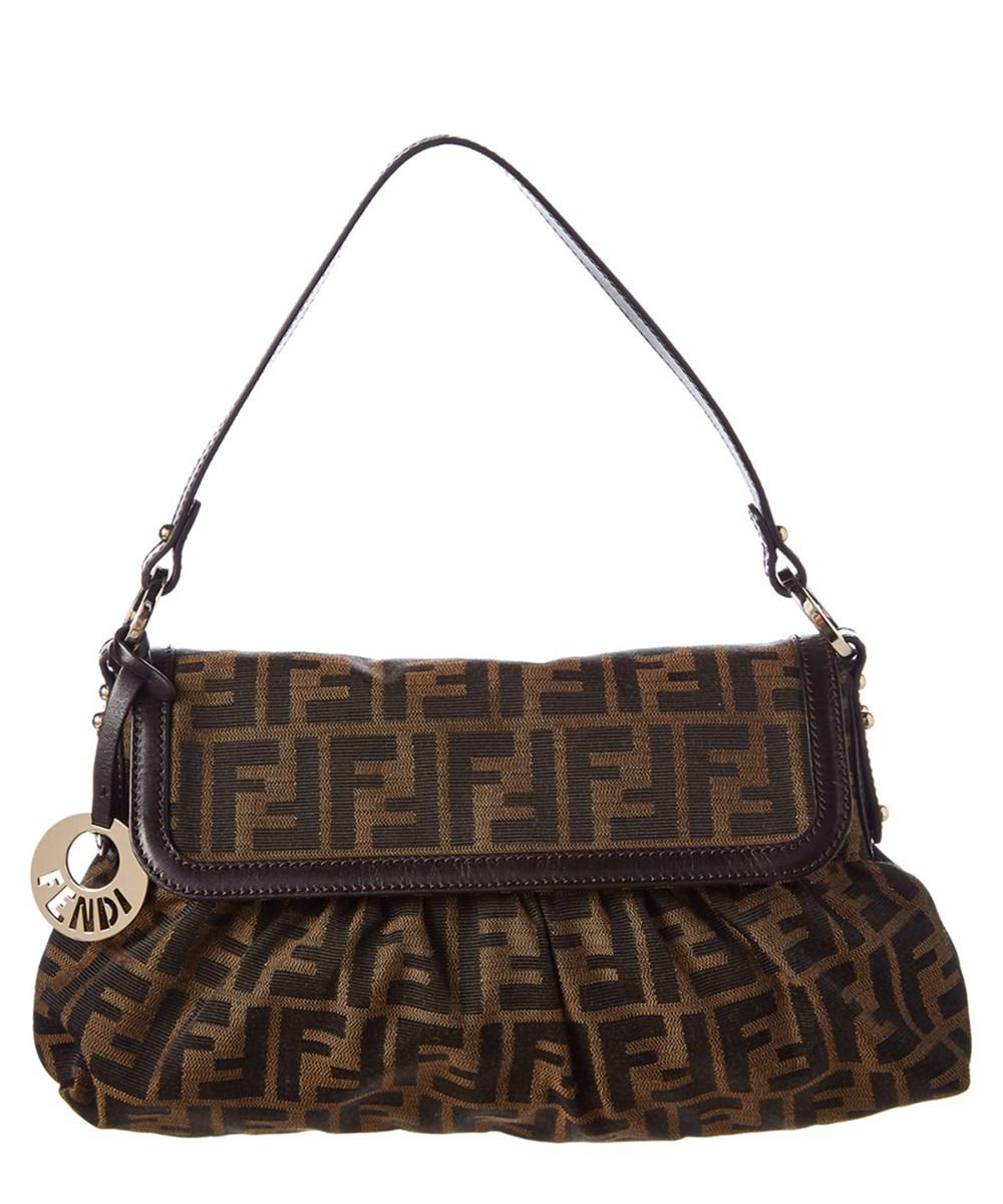 35e7c9e221ac Lyst - Fendi Brown Zucca Canvas Shoulder Bag in Brown