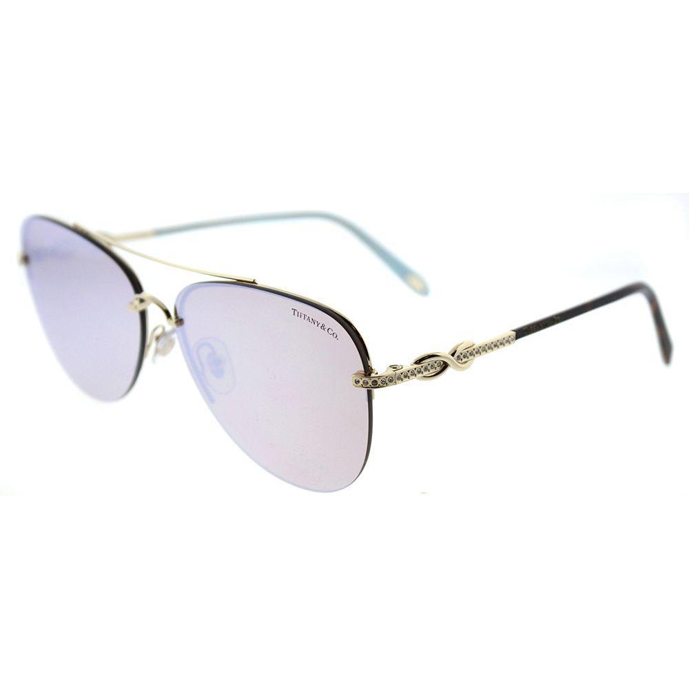 11d5bb9e0b0 Tiffany   Co. Women s Metallic Tf 3054b 602164 Pale Gold Aviator Sunglasses