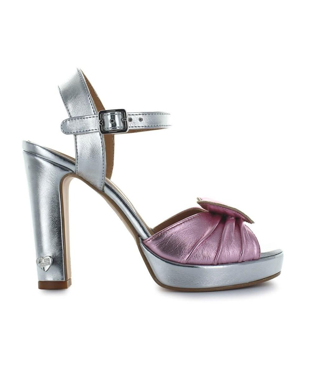 90d405589fb Lyst - Love Moschino Women s Silver Leather Sandals in Metallic