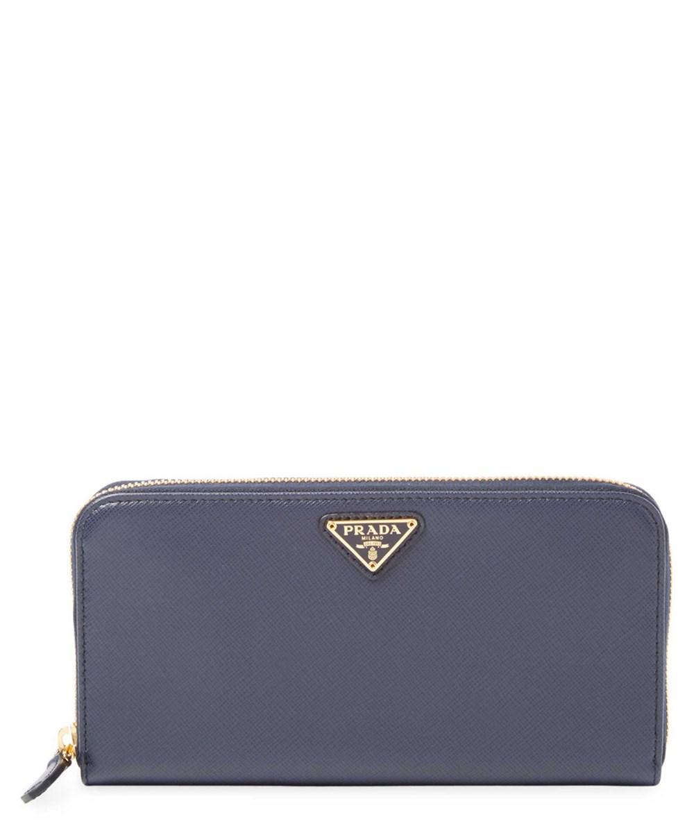 7470832ca1c5e Prada - Blue Zip-around Saffiano Leather Wallet - Lyst. View fullscreen