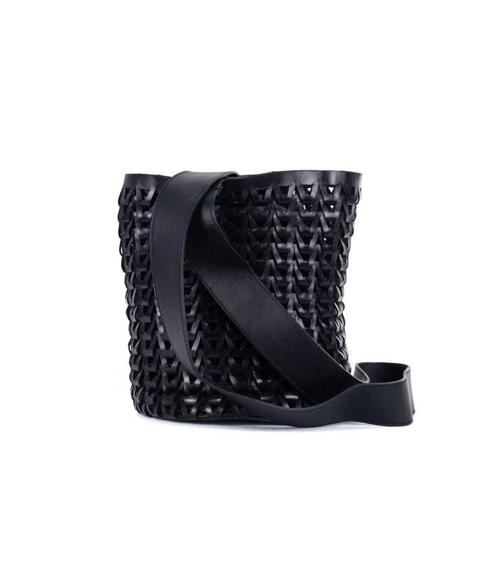 Roberto Cavalli Solid Black Leather Braided Woven Shoulder Bucket Bag ksxZfJB7Dk