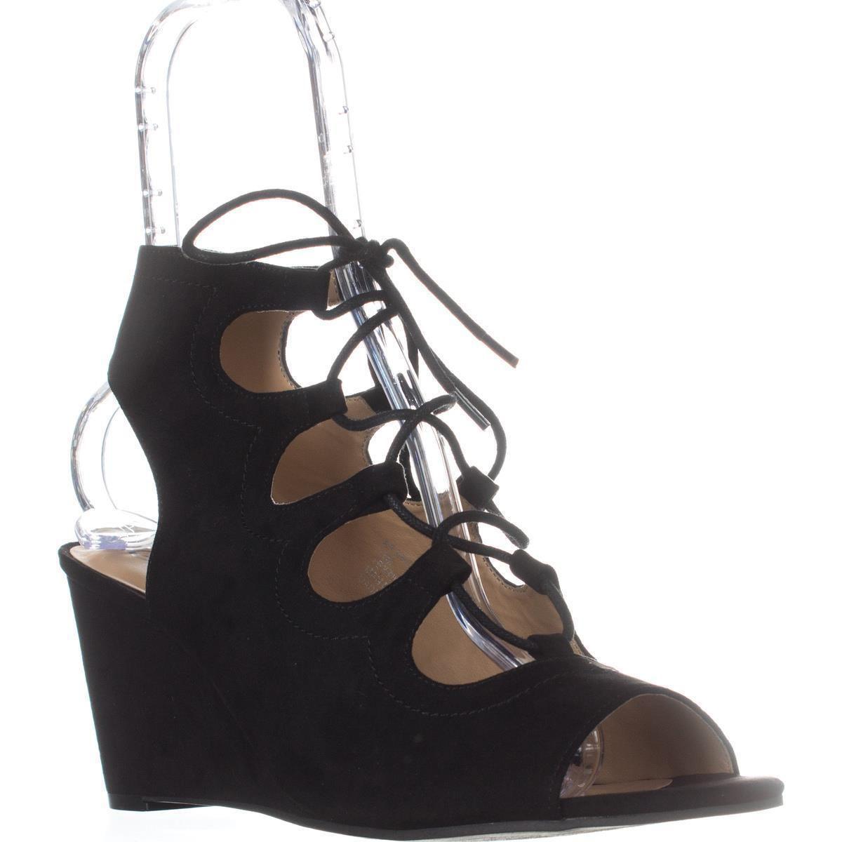 5c71263bfe Lyst - American Rag Ar35 Suriya Lace-up Wedge Sandals, Black in Black