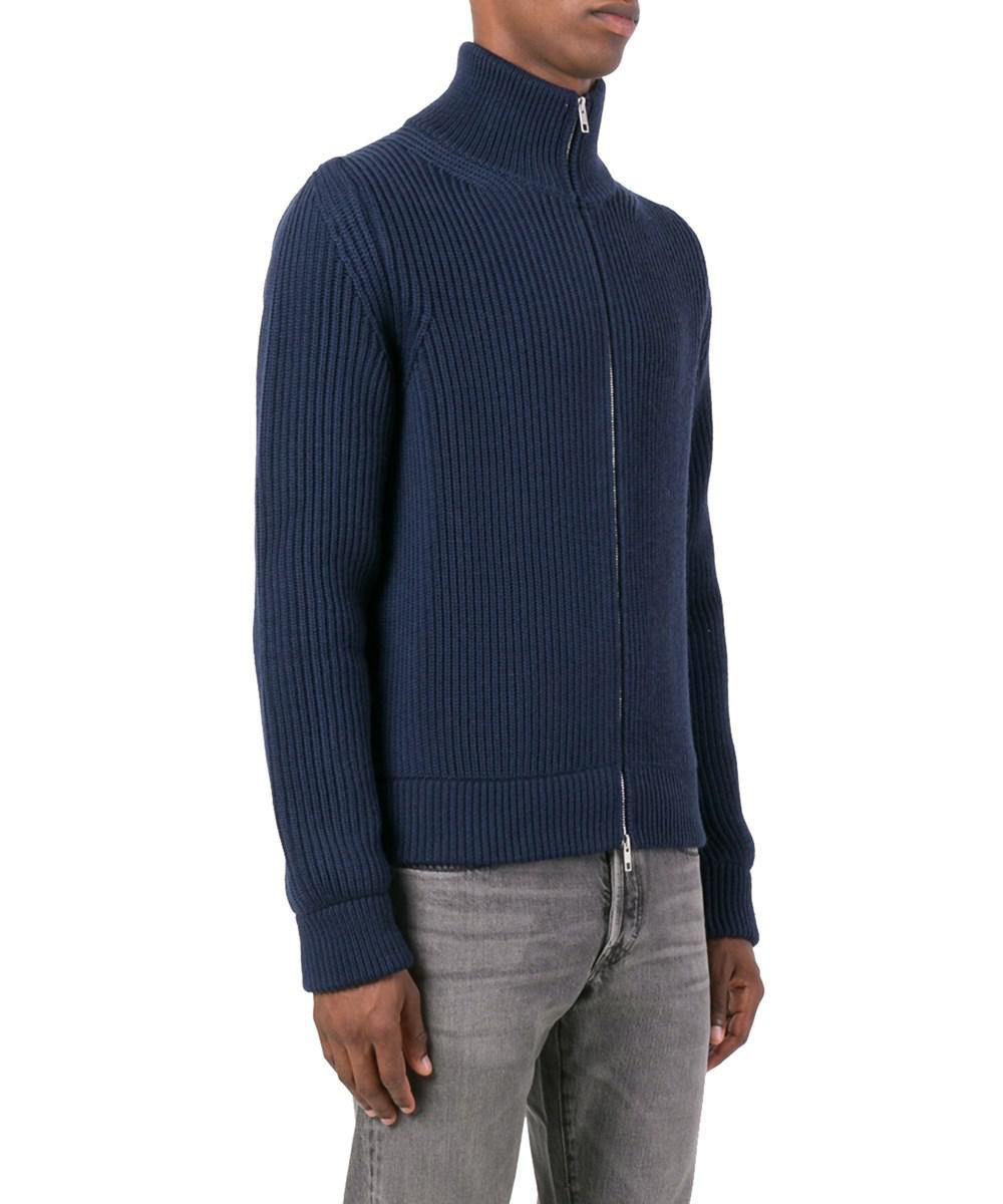 Maison margiela Men's Blue Wool Cardigan in Blue for Men | Lyst