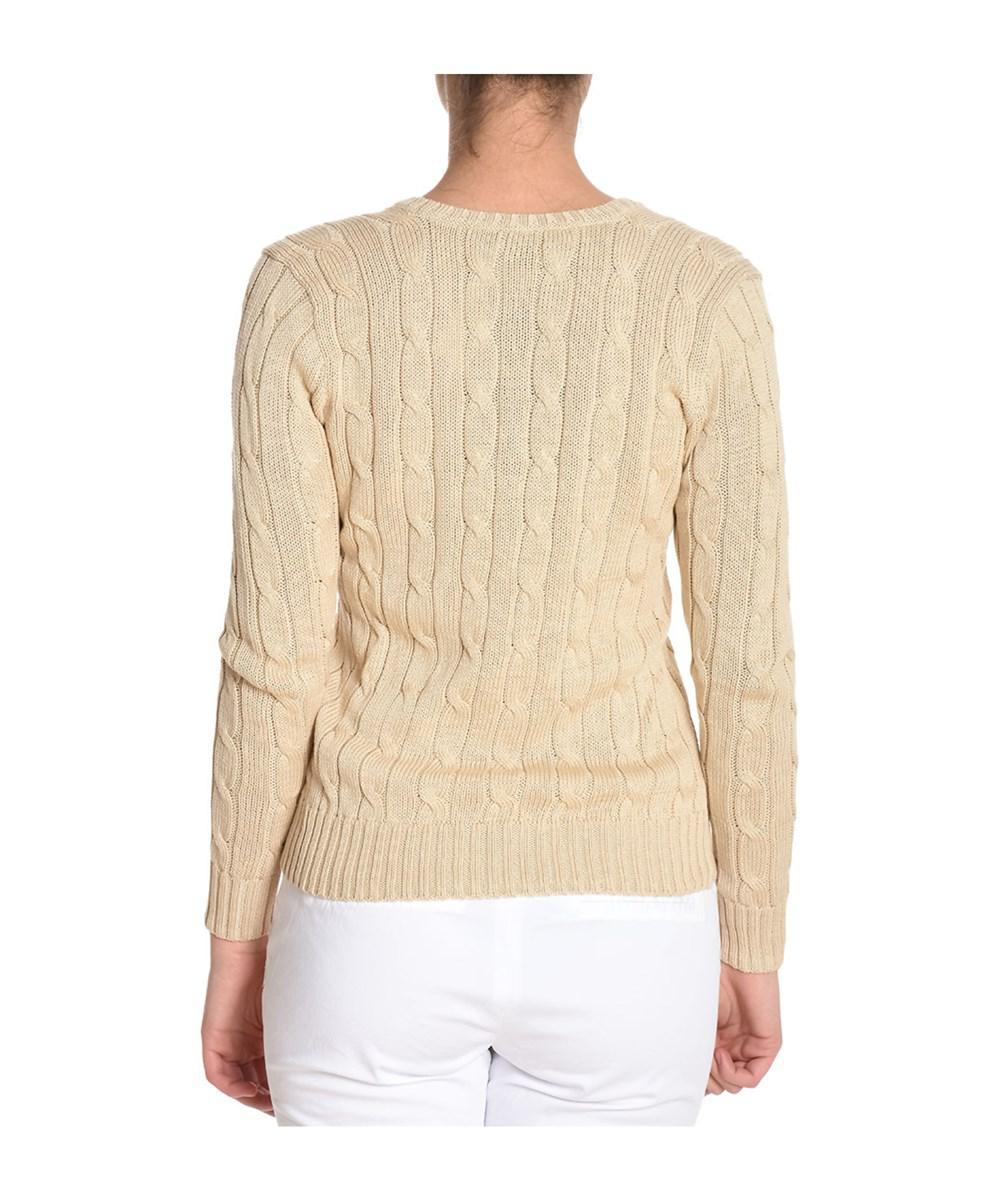Ralph lauren Women's Beige Cotton Sweater in Brown | Lyst