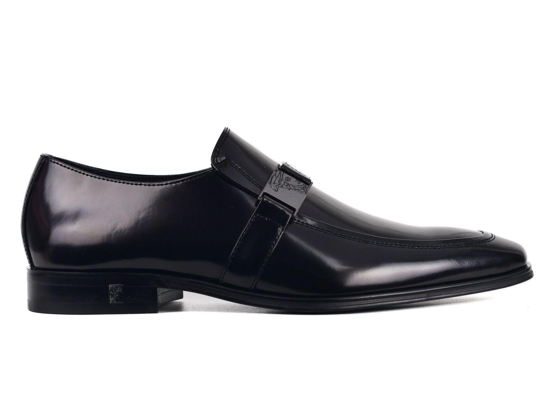 93a5d263edf Versace. Men s Collection Black Polished Leather Emblem Strap Loafers