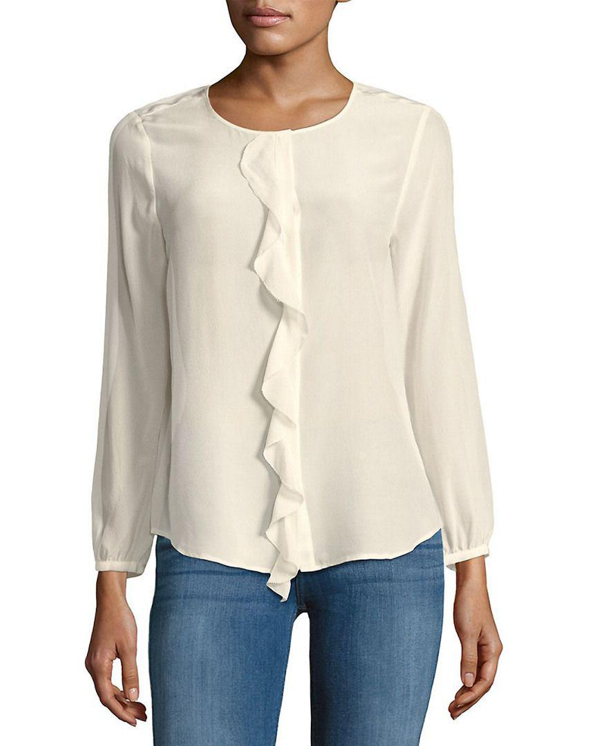 949bd3ffe183d Lyst - Joie Nevara Silk Ruffle-trim Blouse in White - Save ...