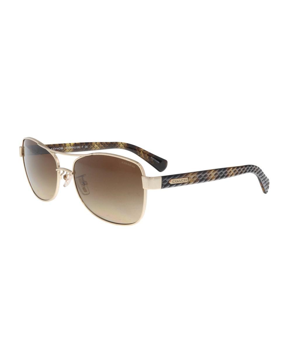 05a494b211c Lyst - Coach Hc7054 920913 Light Gold  Brown Aviator Sunglasses in ...