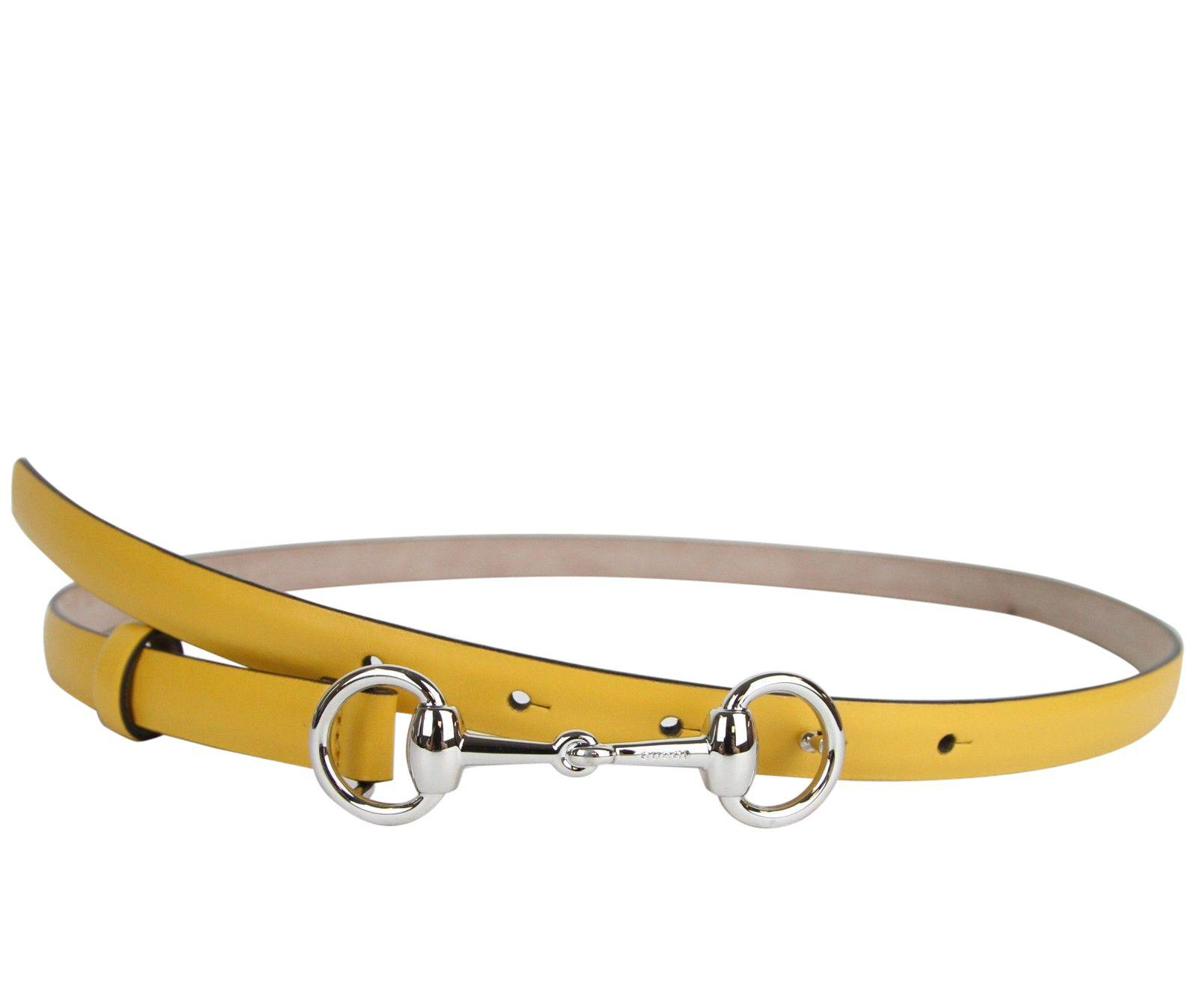 b6915053a72 Gucci. Women s Horsebit Buckle Yellow Leather Thin Skinny Belt 282349 7011