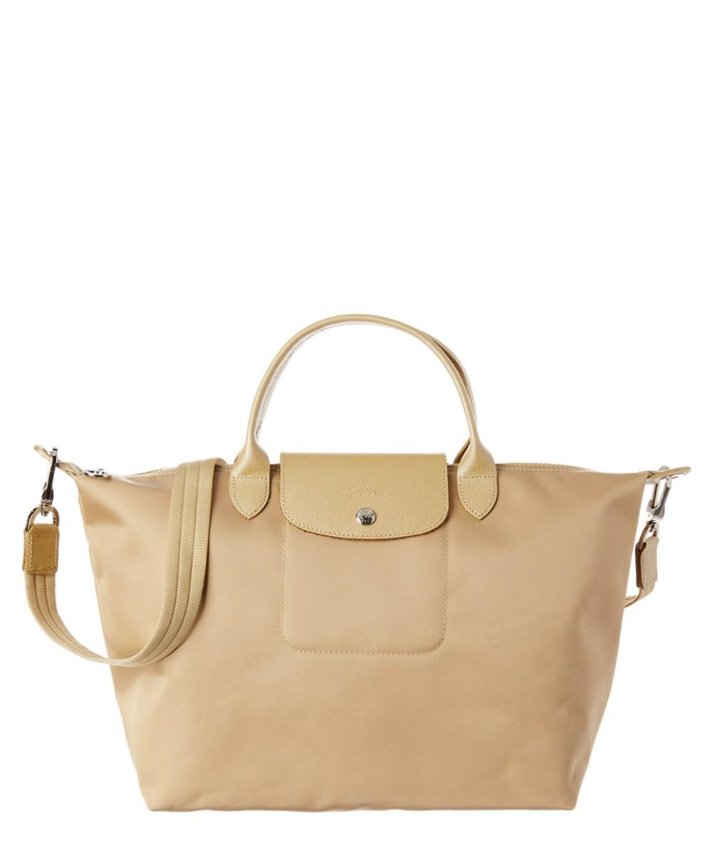 Lyst Longchamp Le Pliage Neo Medium Nylon Top Handle Tote In Natural Black Authentic Womens
