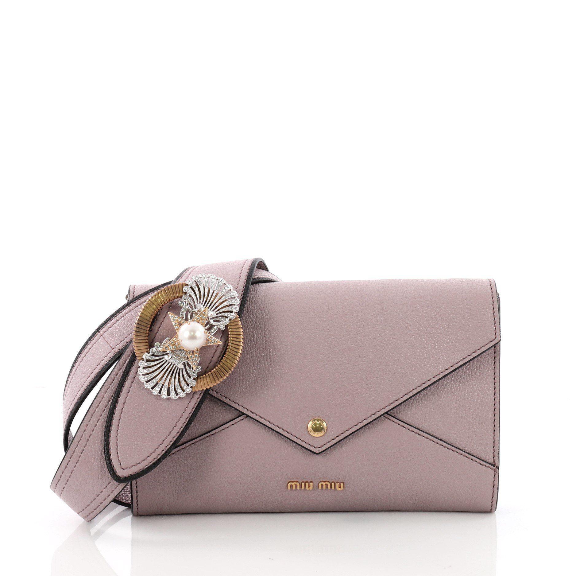 Miu Miu. Women s Pre Owned Madras Envelope Shoulder Bag Leather 62c5845561d32