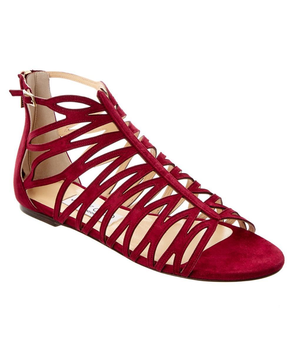 475ef24b562e Lyst - Jimmy Choo Kerim Suede Sandal in Red