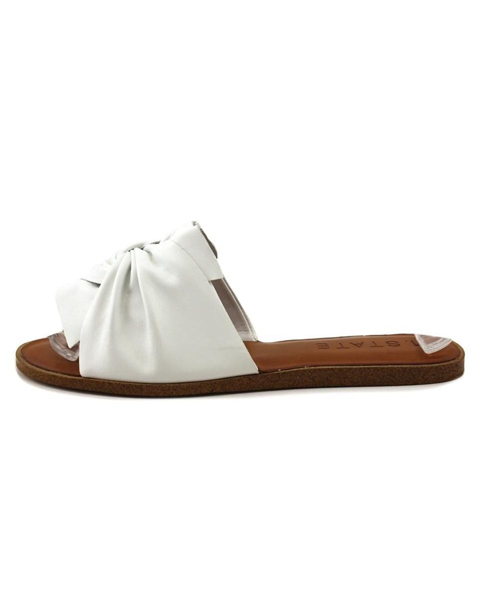 1.STATE. White Womens Chevonn Leather Open Toe Casual Slide Sandals
