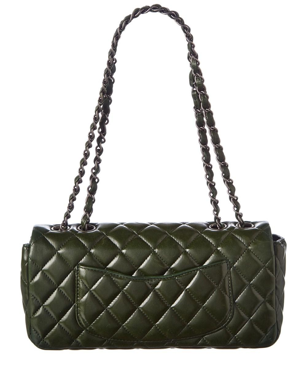 3554c7dcd58bc Lyst - Chanel Green Quilted Lambskin Leather East west Medium Single ...