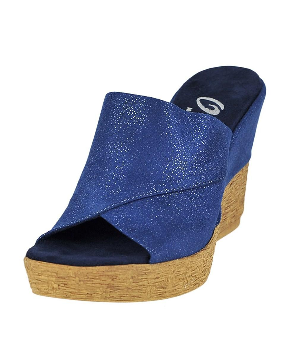 Onex Womens Charlie High Heel Wedge Sandal Blue Size 80