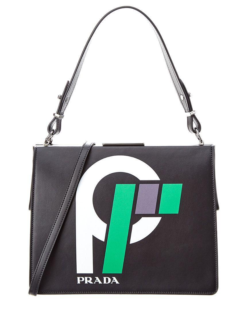 c68b279d42 Lyst - Prada Light Frame Leather Shoulder Bag in Black