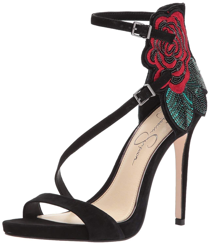 bcfa00382579 Jessica Simpson. Black Womens Reesa Open Toe Ankle Strap Classic Pumps