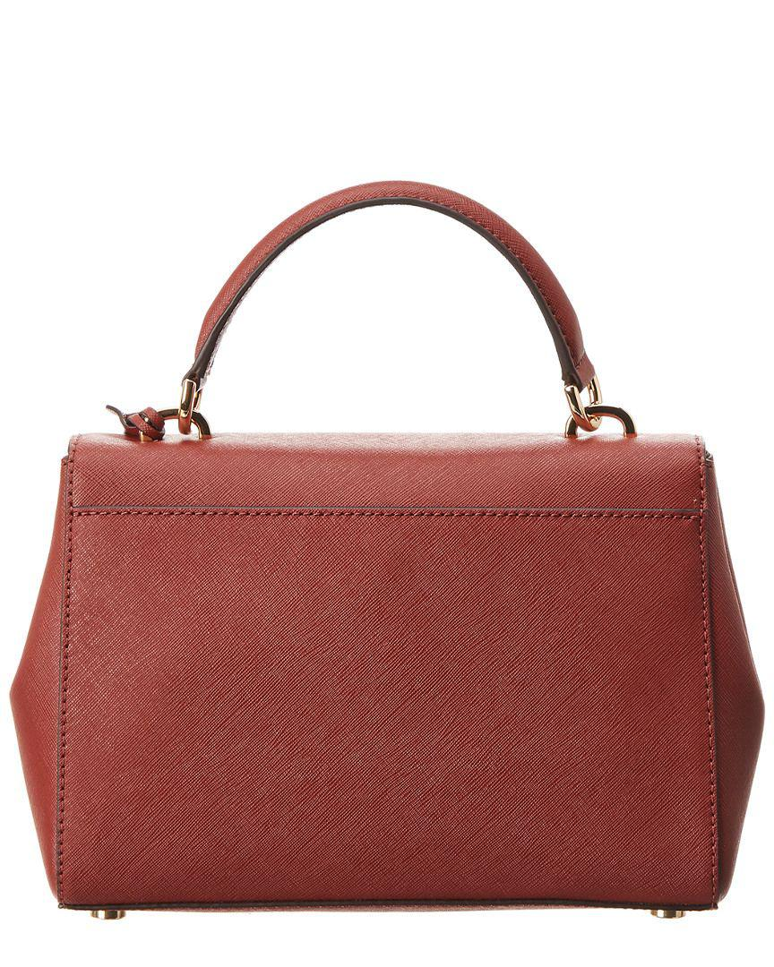 e21ca38b39 Lyst - Michael Michael Kors Michael Kors Ava Small Leather Satchel in Red