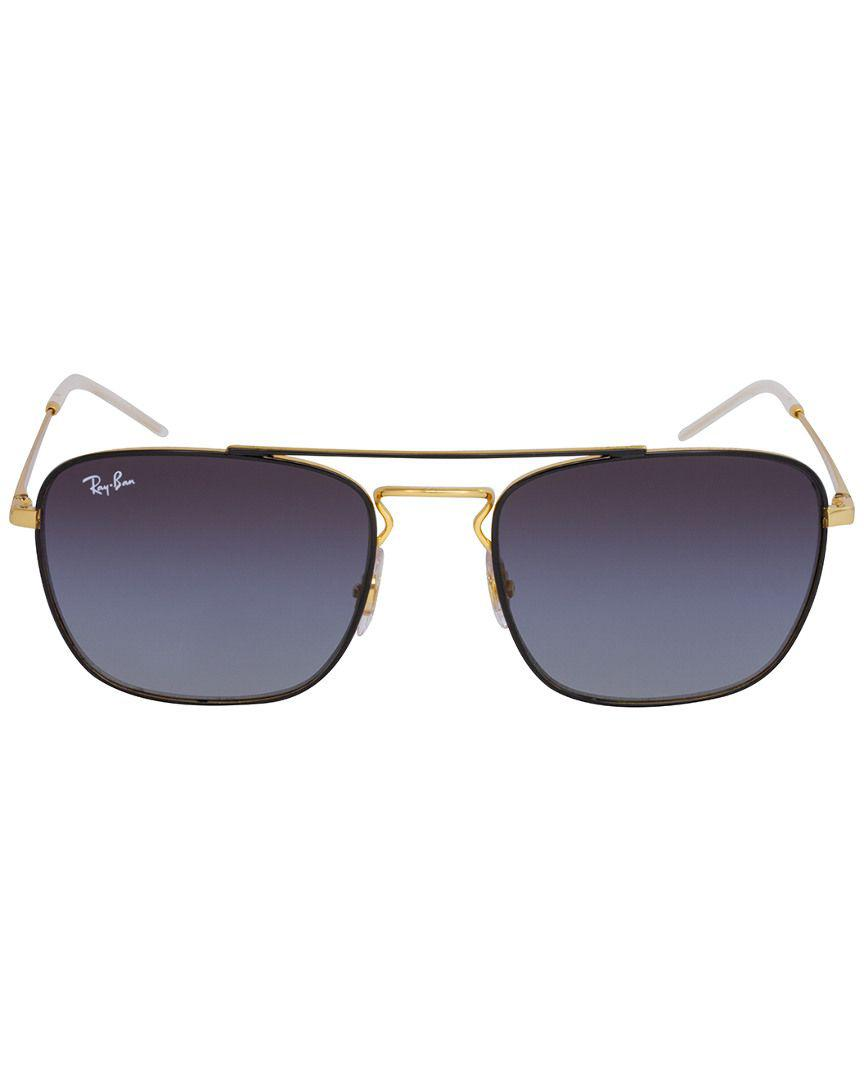 93134d4a668 Lyst - Ray-Ban Rb3588 Rectangular Unisex Sunglasses Black Gold ...