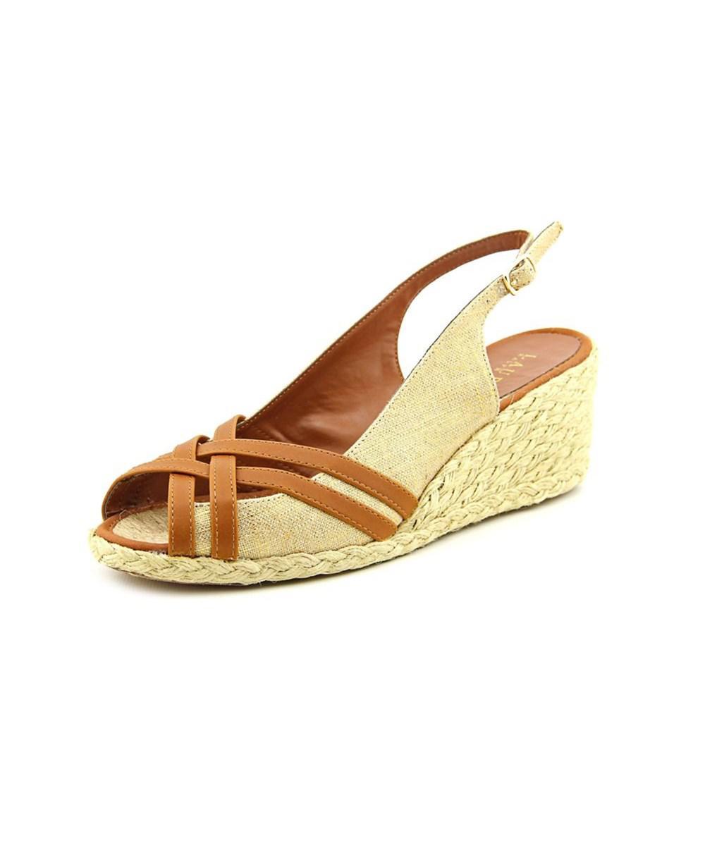 306b066eb4f Lauren by Ralph Lauren. Candice Women Open Toe Canvas Brown Wedge Heel