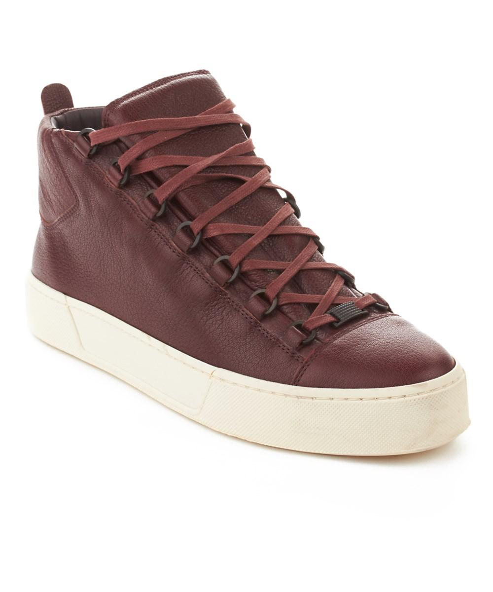 Balenciaga. Purple Men's Arena Leather High Top Sneaker Shoes Burgundy