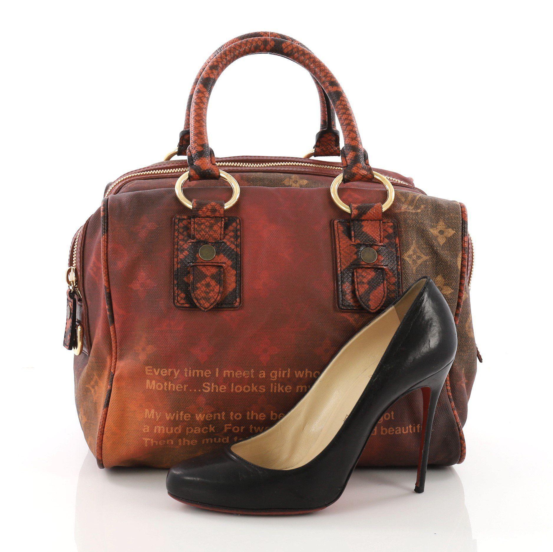 Lyst Louis Vuitton Pre Owned Mancrazy Jokes Handbag Monogram