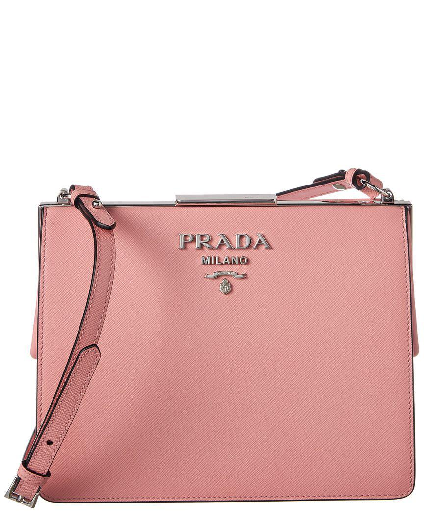 07b49b6aabce ... canada prada pink light frame saffiano leather shoulder bag lyst. view  fullscreen 7a65e 7d7ab ...