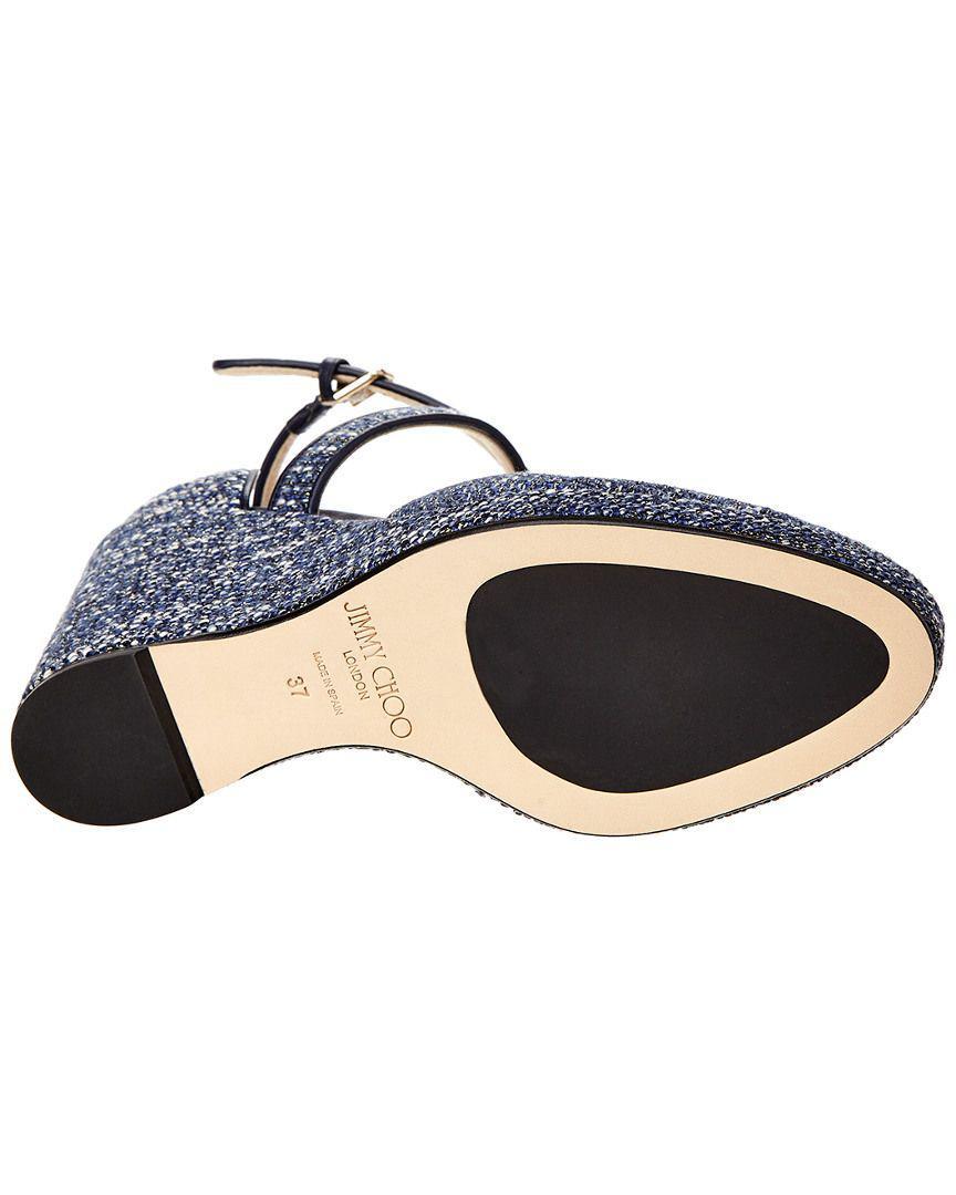 5aa998345e Jimmy Choo - Blue Alita 105 Leather Wedge Sandal - Lyst. View fullscreen