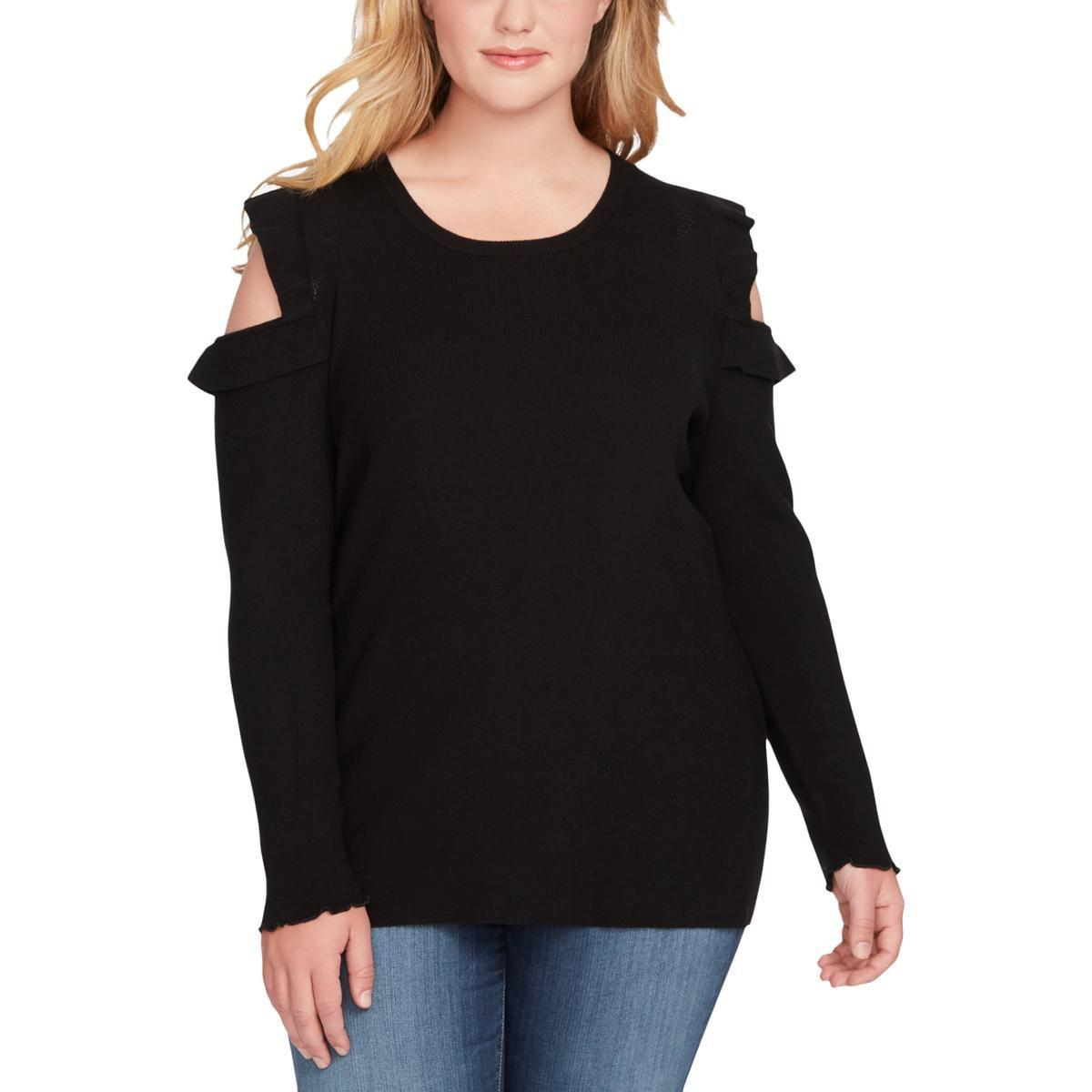 cb1d66b3e31 Jessica Simpson. Black Womens Plus Amenta Cold Shoulder Long Sleeves  Pullover Sweater