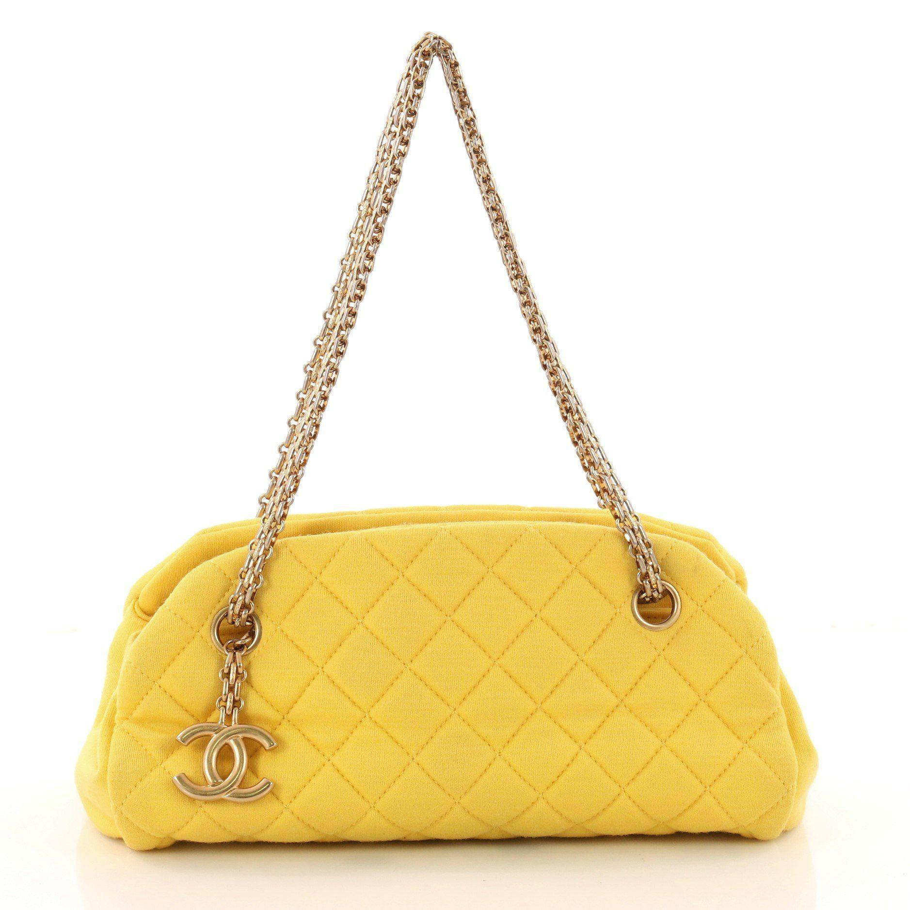 9f9c0245f5205d Lyst - Chanel Just Mademoiselle Handbag Quilted Jersey Small in Yellow