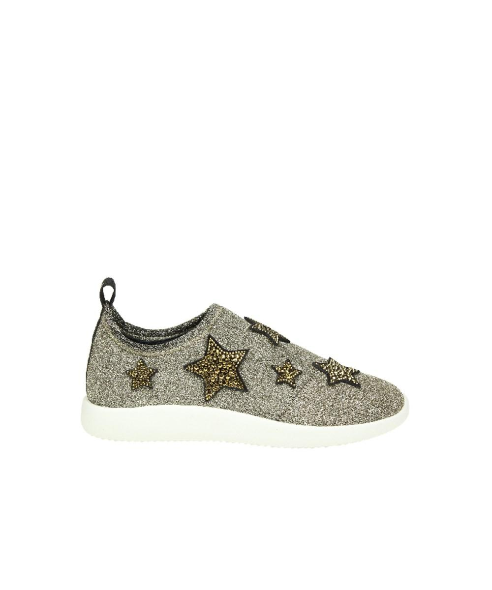 Sneakers Slip-On NATALIE textile Glitter Star pattern Strass silver Giuseppe Zanotti BlLanSyy3C