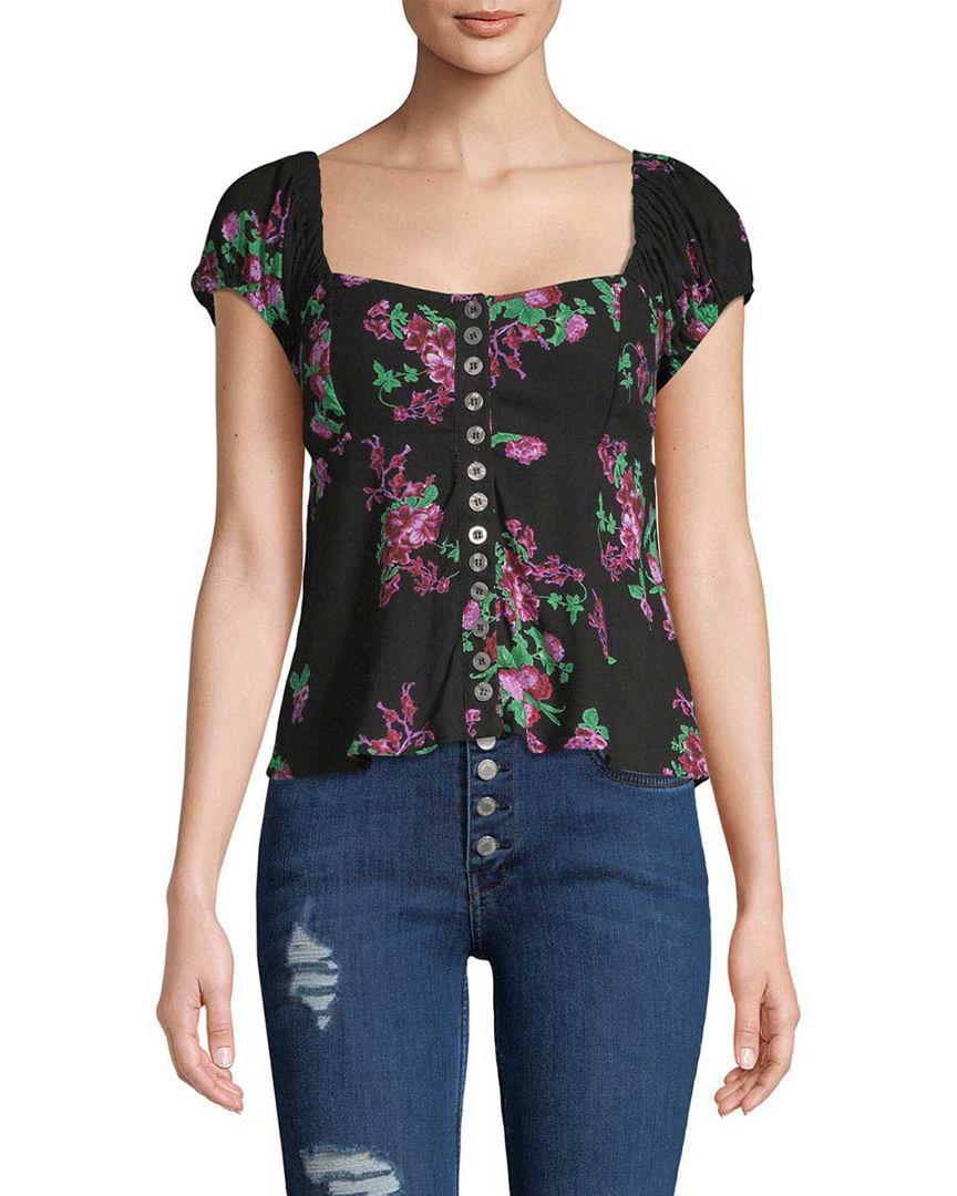 85d6065e98241 Lyst - Free People Smocked Floral Blouse in Black