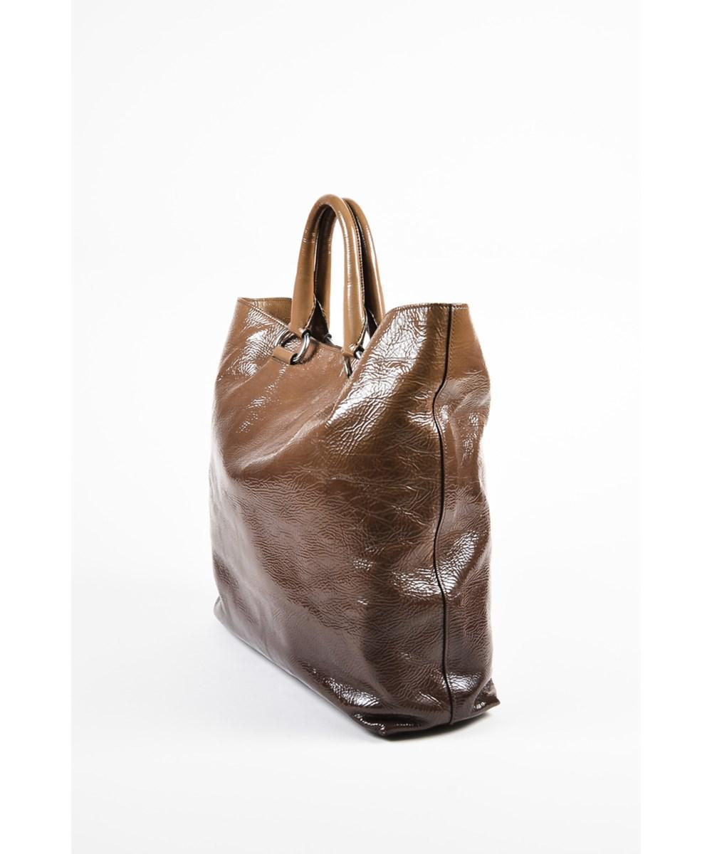 99b93e00cf92 ... sale lyst prada 1 olive taupe crinkled patent leather ombre tote bag in  81785 aaeca
