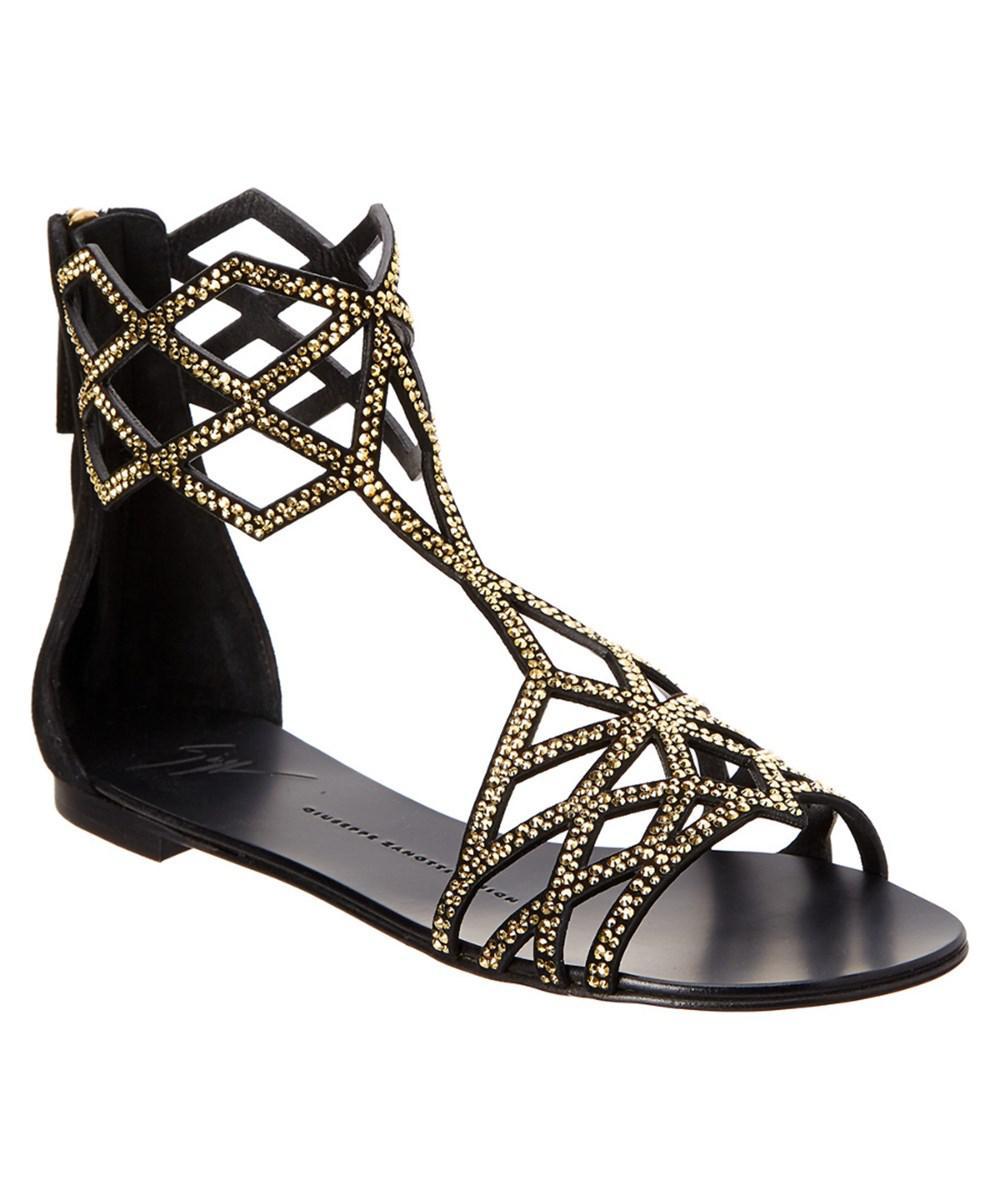 a86f434c2303 Lyst - Giuseppe Zanotti Embellished Suede Gladiator Sandal in Black