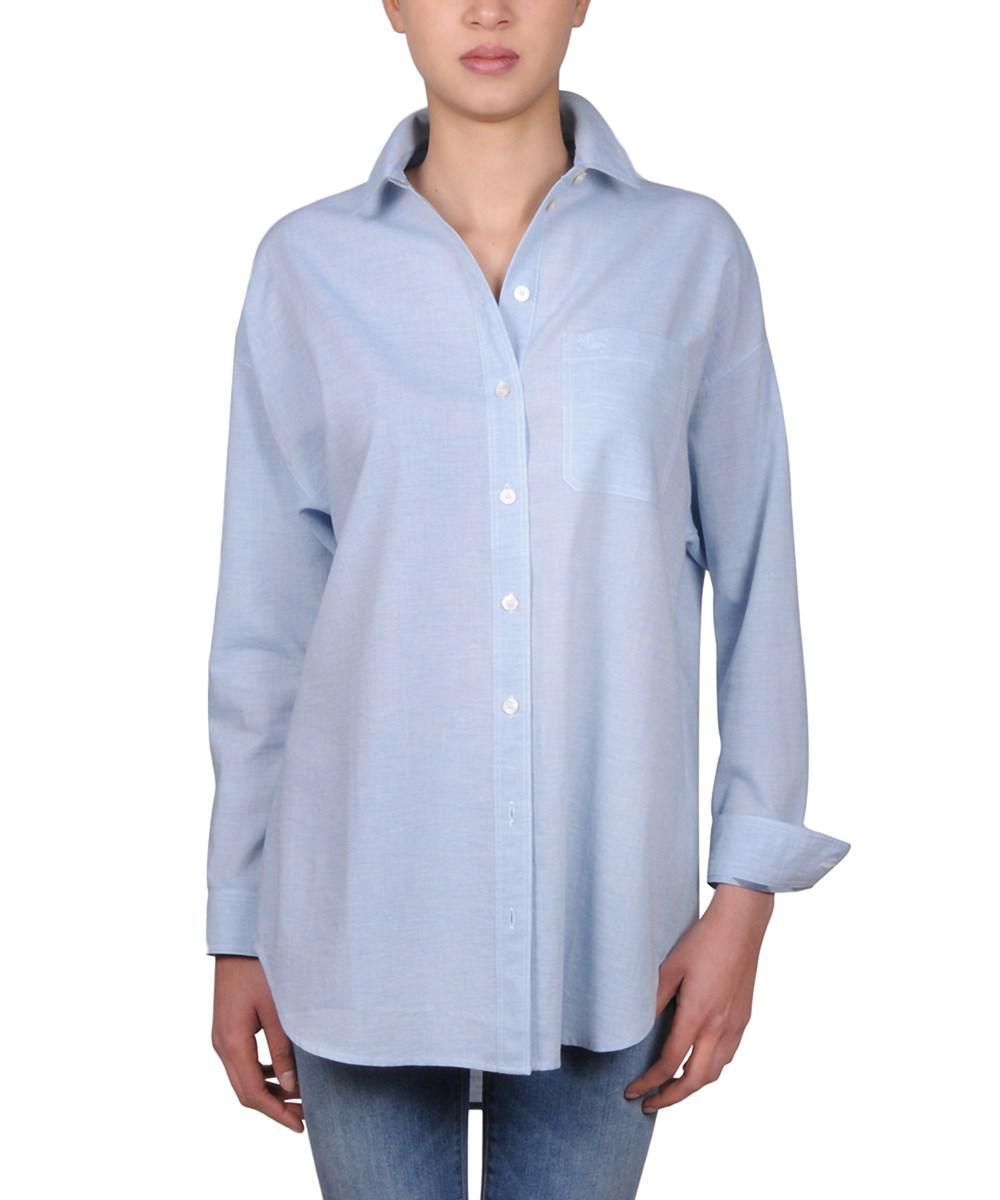 ... 1db47 4c976 Lyst - Burberry Women s 4012974 Light Blue Cotton Shirt in  Blue pretty nice ... 3972ee6c4d