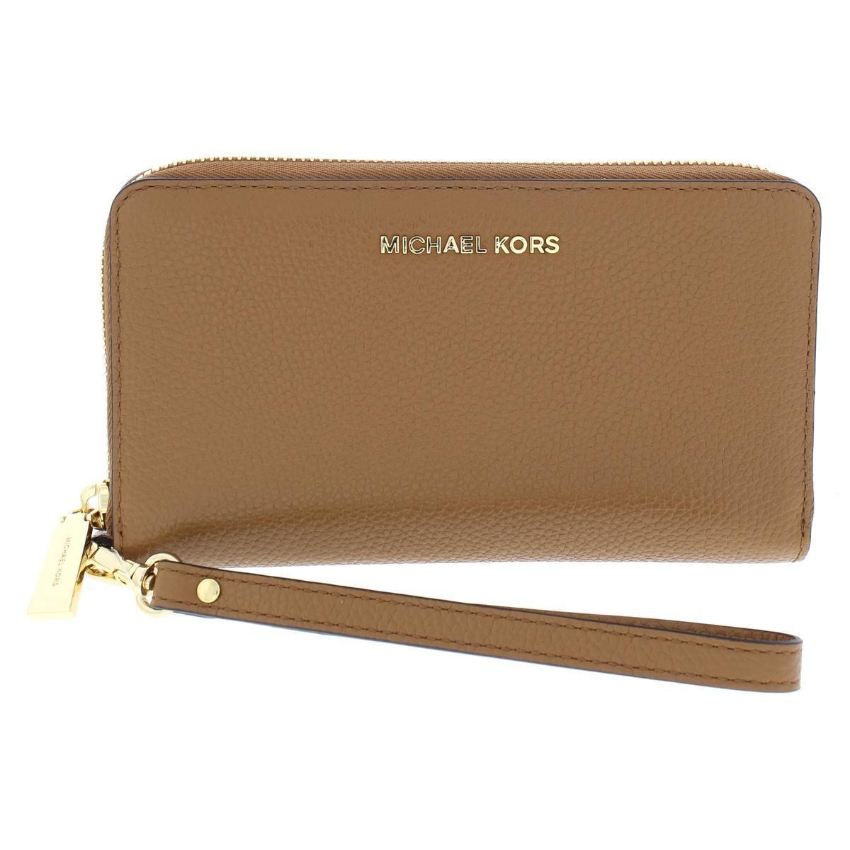 d62d573b8d68 MICHAEL Michael Kors. Brown Womens Mercer Leather Multi Function Wristlet  Wallet