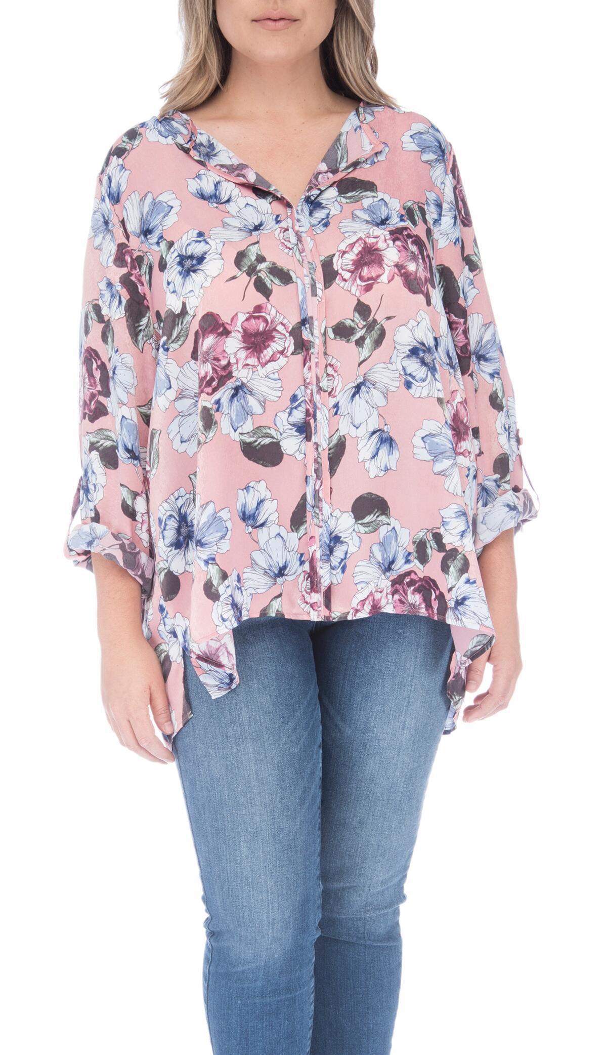 24f44604fe5 Lyst - Bobeau Cristy Pleat Back Plus Size Blouse in Pink