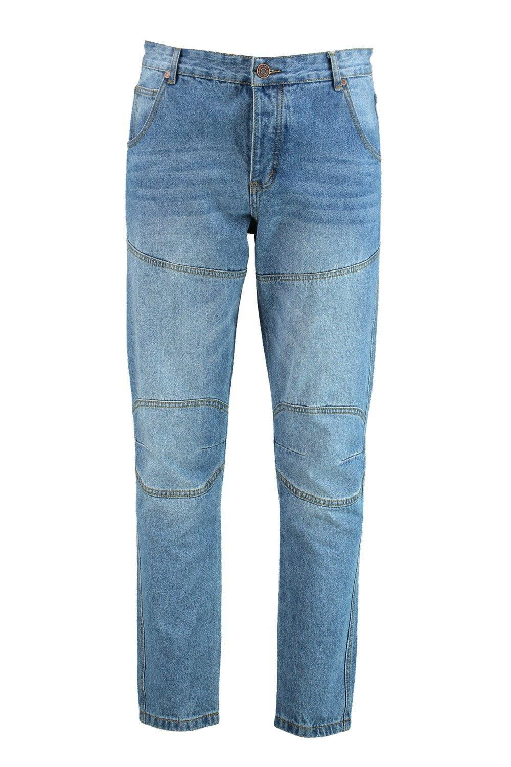 Boohoo Denim Tapered Fit Panelled Jeans in Mid Blue (Blue) for Men