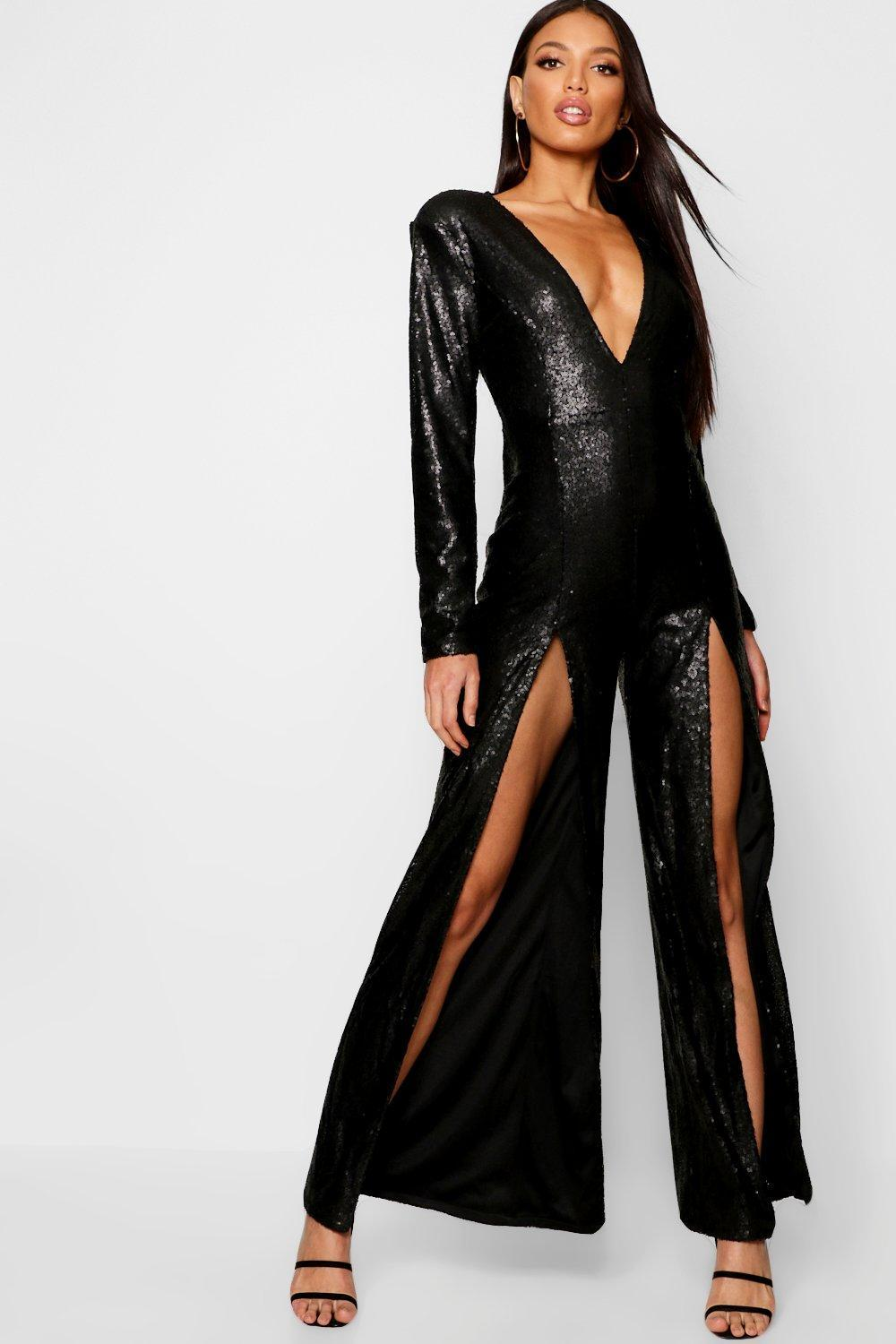 a1e7ce36b6 Boohoo Boutique Long Sleeve Plunge Sequin Split Jumpsuit in Black - Lyst