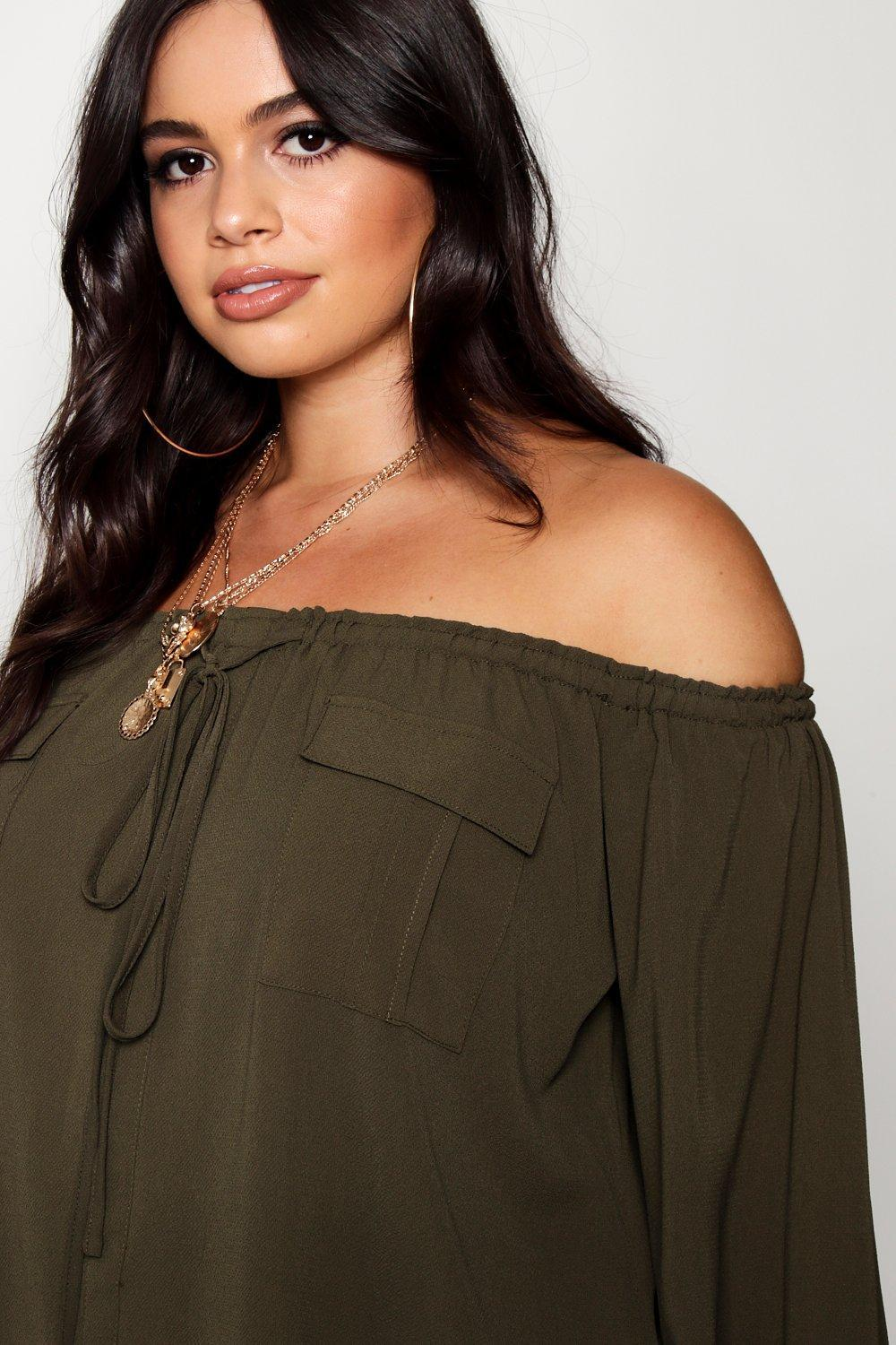 Off Shoulder Top Utility Lyst Pocket Boohoo Green in Plus MGUpqSzV