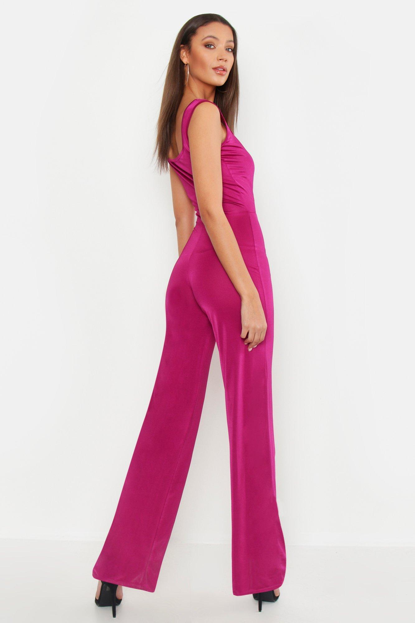 f1904869090 Boohoo - Purple Tall Cut Out Detail Wide Leg Jumpsuit - Lyst. View  fullscreen