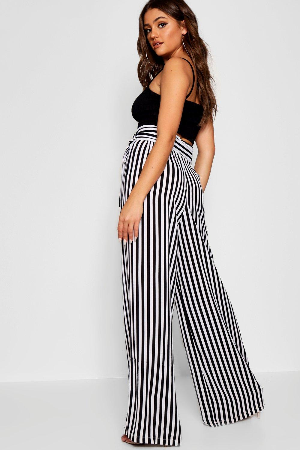 fac79a405b68 Boohoo - Black Tie Waist Striped Wide Leg Trousers - Lyst. View fullscreen