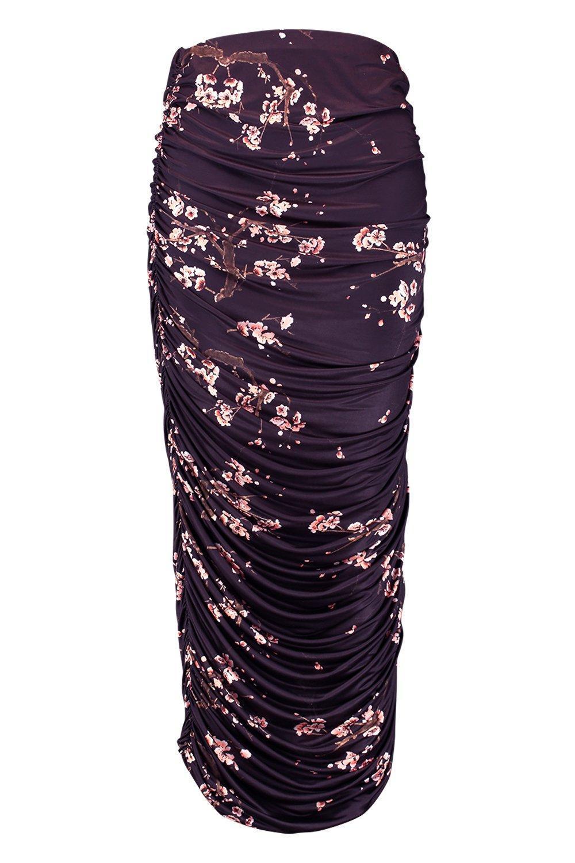 3ab9d0f885 ... Plus Slinky Cherry Blossom Ruched Midaxi Skirt - Lyst. View fullscreen