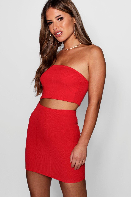 16882946c9 Lyst - Boohoo Petite Bandeau Mini Bandage Skirt Co-ord in Red