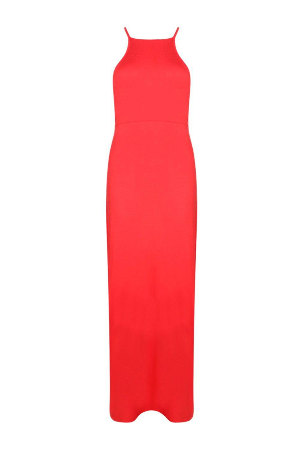 Boohoo Synthetic Daria Back Lace Up Tie Maxi Dress in Poppy (Black)