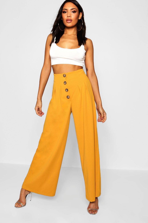 f62458e3e516 Lyst - Boohoo Mock Horn Button High Waist Trouser in Yellow